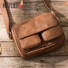 <b>AETOO Original retro</b> leather men's bag simple hand painted frosted ...