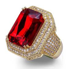 Fashion <b>Women Jewelry</b> Red Ruby Gems <b>Ring</b> Engagement ...