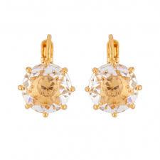 Dormeuses Earrings Small <b>Crystal Round</b> Stone | Les Néréides