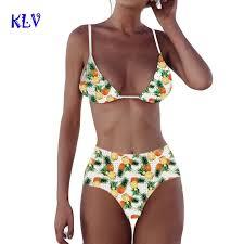 <b>KLV bikini</b> 2018 Pineapple Printing Push Up Padded Bra Beach ...