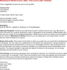 maintenance worker cover letter  template maintenance worker cover letter