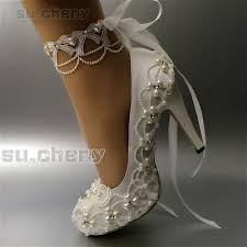 "su.cheny <b>3</b>"" 4"" heel white ivory satin lace anklet bow <b>Wedding Bridal</b> ..."