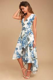 Lovely <b>White Floral Print</b> Dress - High-Low Wrap Dress