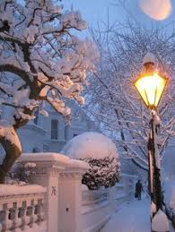 Street light, houses, snow.