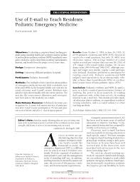 use of e mail to teach residents pediatric emergency medicine first page pdf preview