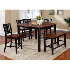 piece bar height patio set wg   piece counter height dining set with bench country dover black and c