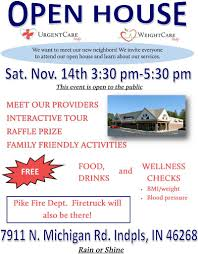 you re invited open house on nov 14 weightcare indy urgentcare indy open house flyer