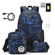 <b>3 pcs</b> /<b>set USB Male backpacks</b> laptop backpack for men shoulder ...