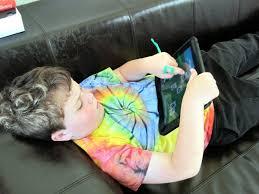 Autistic boy with iPad
