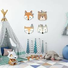 Ins <b>Nordic</b> Style Wooden Animal Head <b>Furniture</b> Ornament For Kids ...