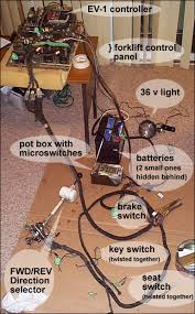 electric car conversion project forkenswift page 22 fuel above laid out in the basement on a piece of cardboard is the entire forklift wiring harness and all its connections switches connected to the complete