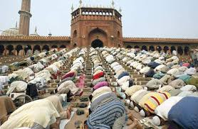 Photograph Muslims pray at a mosque in India  Kids Britannica
