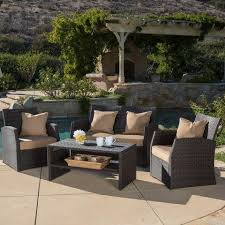 patio couch set all weather  piece wicker patio furniture sofa set w deep seating for outdoo