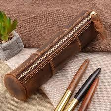<b>100</b>% Genuine <b>Leather</b> Zipper Pen Pencil Bag <b>Handmade Vintage</b> ...