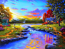 beautiful lake at sunset sunsets sun evening houses reflection clouds pond drawing art cottages golden painting office beautiful simply home office
