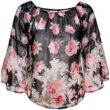 <b>Sweet Off The</b> Shoulder Floral Print Long Sleeve Blouse For Women ...