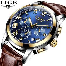 <b>LIGE Mens Watches Top</b> Brand Luxury Leather Casual Quartz ...