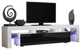 "TV Stand Milano 200 <b>Modern</b> 90"" TV Stand <b>LED</b>, <b>White</b>/Black$343.20"