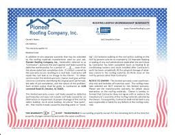 pioneer roofing construction services we offer residential warranty sample click here