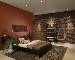 bedroom design idea: bedroom delectable brown wall paint for natural bedroom design idea feat awesome brick accents wall
