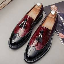 Men's Fashion Leather Pointed Shoes Tassels Bright Leather ... - Vova