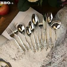 1pcs Luxury <b>Western</b> Silverware Cutlery Silver Dinnerware Set ...