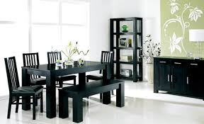 black black wood dining room