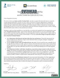 the overhead myth moving toward an overhead solution letter to the nonprofits of america