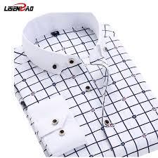 New 2018 Long Sleeve <b>Solid</b> Color dot printing Shirt <b>Men</b> Regular ...