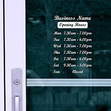 <b>OPENING</b> HOURS + SHOP NAME Window, <b>Wall</b> Sign <b>Vinyl Decal</b> ...
