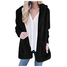 Women Plush Hooded Cardigan <b>Autumn and Winter New</b> Solid ...