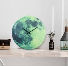 30 cm <b>Moon Luminous</b> Wall Clock 2019 New Arrival Hot Sales MDF ...