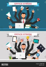 office job stress work vector illustration stress on work office job stress work vector illustration stress on work business man many hands