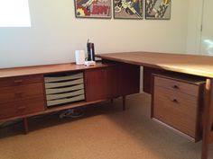 arne vodder large l shape danish modern teak executive desk for sibast carruca desk office