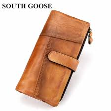 2018 New <b>Men</b> Genuine Leather <b>Wallets</b> Vintage <b>Long</b> Clutch ...