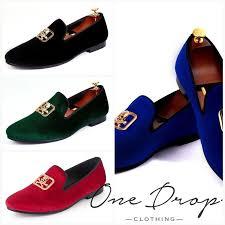 <b>Harpelunde Men Blue</b> Velvet Loafers Skull Buckle <b>Dress</b> Shoes ...