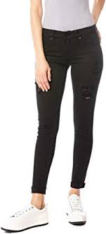 Kan Can Women's Low Rise Ankle Skinny <b>Jeans</b> - <b>Distressed</b> ...