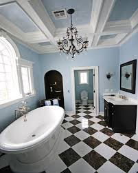 small bathroom chandelier crystal ideas: bathroom chandeliers with black and white tiles ideas and curved bath design full size