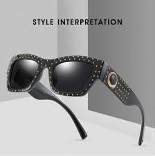 <b>2019 Fashion Vintage</b> Cool Square <b>Style Rivets</b> Sunglasses Women ...