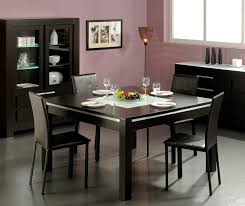elegant square black mahogany dining table: unique torchiere floor lamp feat black buffet design plus modern square dining table and leather chairs