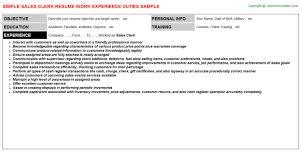 Clerk Job Title Sales Clerk Resume