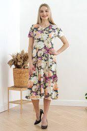 <b>Платье принтованное</b> красивыми бабочками - Викки | песочное