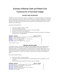 patient care technician resume sample job and resume resume sample example of medical clerk and patient care technician for a technical college