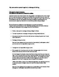 My persuasive speech against underage drinking   GCSE English     Marked by Teachers Page   Zoom in
