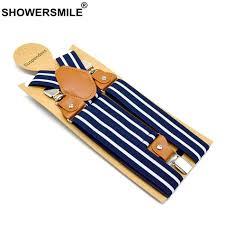 SHOWERSMILE <b>Mens</b> Braces For Trousers Stripe <b>Suspenders</b> Navy ...