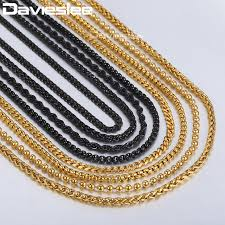 Davieslee Mens Womens Necklace <b>Gold</b> Black Stainless Steel ...
