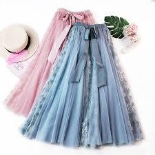 <b>2019 Spring Summer</b> Fashion Skirt Women Lace <b>Tulle</b> A line Midi ...