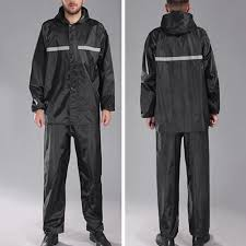 Oxford cloth <b>black</b> Windproof <b>reflective</b> Hooded <b>raincoat</b> rain pants ...