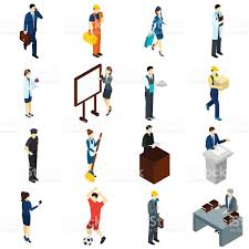 professional people work isometric icons set stock vector art 1 credit