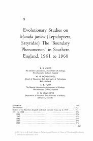 evolutionary studies on maniola jurtina lepidoptera satyridae essays in evolution and genetics in honor of theodosius dobzhansky